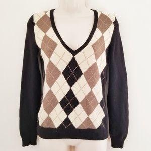 J CREW Argyle wool V Neck Sweater